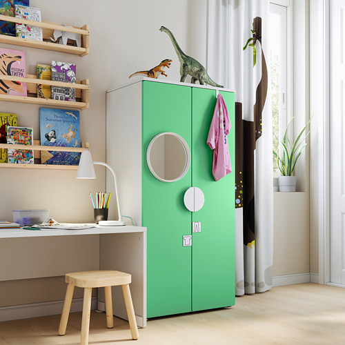 PLATSA/SMÅSTAD - wardrobe, white/green | IKEA Hong Kong and Macau - PE794424_S4