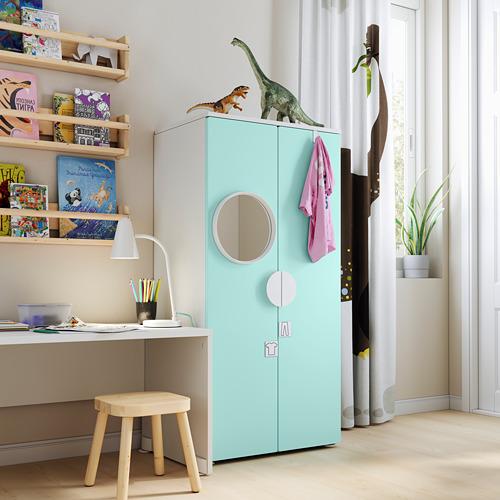 PLATSA/SMÅSTAD - wardrobe, white/pale turquoise | IKEA Hong Kong and Macau - PE794427_S4