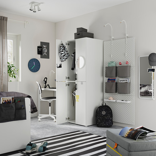 PLATSA/SMÅSTAD - wardrobe, white grey/with 2 clothes rails | IKEA Hong Kong and Macau - PE794488_S4