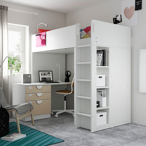 SMÅSTAD - loft bed, white birch/with desk with 4 drawers | IKEA Hong Kong and Macau - PE794534_S4