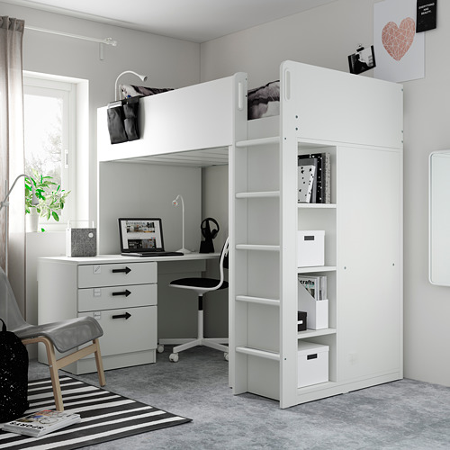 SMÅSTAD - loft bed, white green/with desk with 4 drawers   IKEA Hong Kong and Macau - PE794542_S4