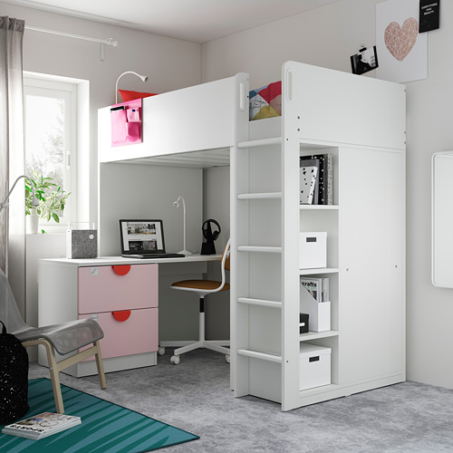 SMÅSTAD - loft bed, white pale pink/with desk with 3 drawers | IKEA Hong Kong and Macau - PE794703_S4