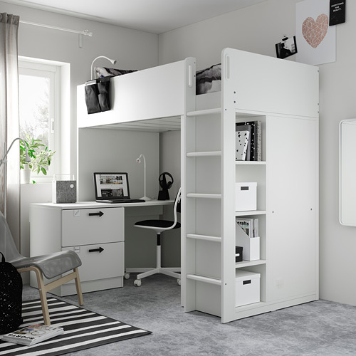 SMÅSTAD - loft bed, white white/with desk with 3 drawers | IKEA Hong Kong and Macau - PE794702_S4