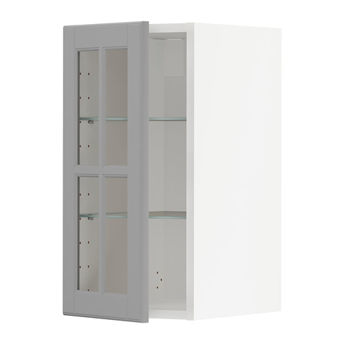 METOD - wall cabinet w shelves/glass door, white/Bodbyn grey | IKEA Hong Kong and Macau - PE741908_S4