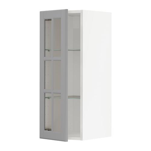 METOD - wall cabinet w shelves/glass door, white/Bodbyn grey | IKEA Hong Kong and Macau - PE741968_S4