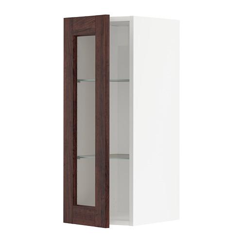 METOD - wall cabinet w shelves/glass door, white/Edserum brown   IKEA Hong Kong and Macau - PE741981_S4