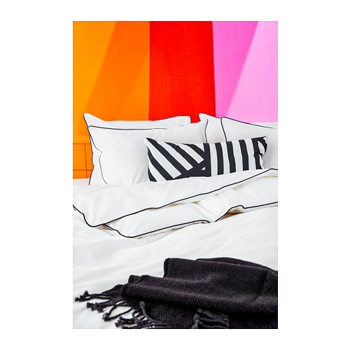 KUNGSBLOMMA - quilt cover and pillowcase, white/grey, 150x200/50x80 cm  | IKEA Hong Kong and Macau - PH158605_S4