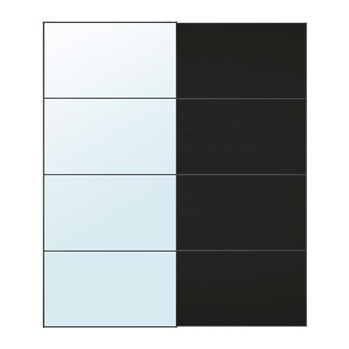 MEHAMN/AULI - pair of sliding doors, mirror glass/black-brown stained ash effect | IKEA Hong Kong and Macau - PE699721_S4