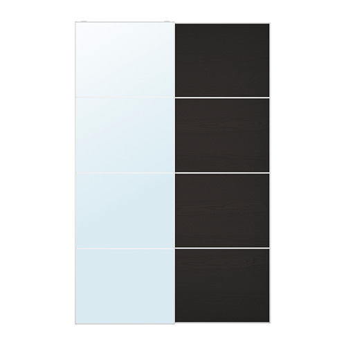 MEHAMN/AULI - pair of sliding doors, mirror glass/black-brown stained ash effect | IKEA Hong Kong and Macau - PE699749_S4