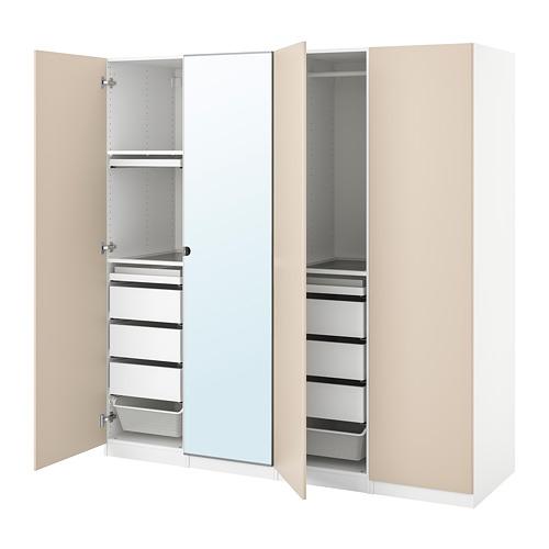 PAX/REINSVOLL/VIKEDAL - 衣櫃組合, 白色/灰米黃色 鏡面玻璃   IKEA 香港及澳門 - PE778662_S4