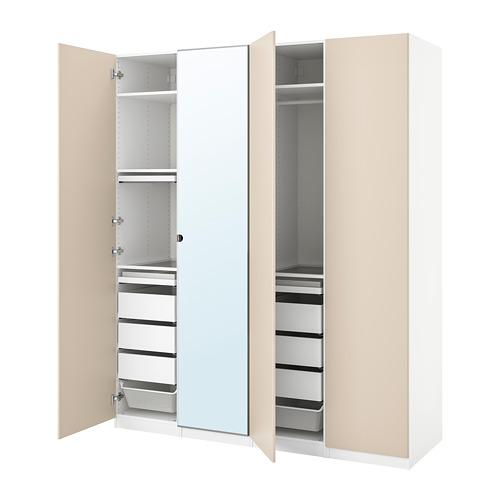 PAX/REINSVOLL/VIKEDAL - 衣櫃組合, 白色/灰米黃色 鏡面玻璃 | IKEA 香港及澳門 - PE778664_S4