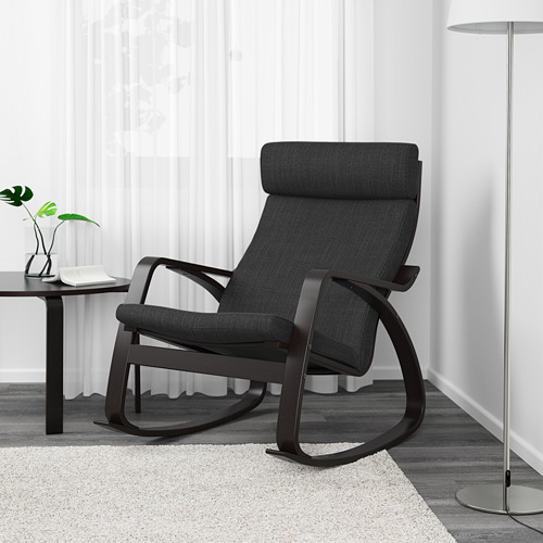POÄNG - rocking-chair, black-brown/Hillared anthracite   IKEA Hong Kong and Macau - PE629330_S4