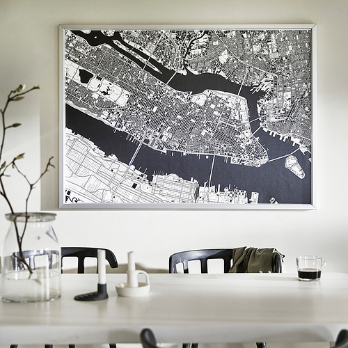 BJÖRKSTA - 畫連框, 俯瞰曼克頓/鋁色   IKEA 香港及澳門 - PE840804_S4