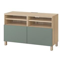 BESTÅ - TV bench with doors, white stained oak effect/Notviken/Stubbarp grey-green | IKEA Hong Kong and Macau - PE742186_S3