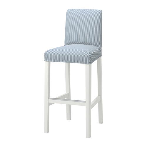 BERGMUND - bar stool with backrest, seat height 75cm, white/Rommele dark blue/white   IKEA Hong Kong and Macau - PE795270_S4