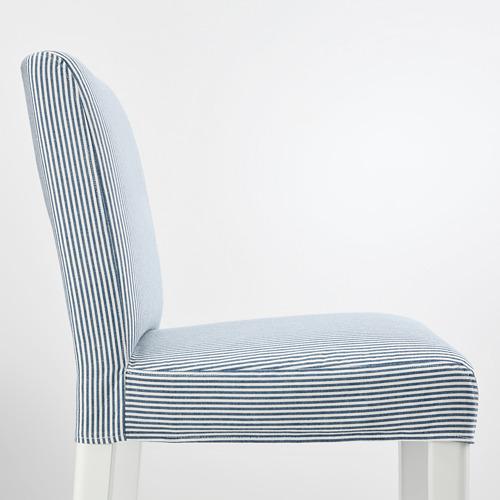 BERGMUND - bar stool with backrest, seat height 75cm, white/Rommele dark blue/white   IKEA Hong Kong and Macau - PE795272_S4