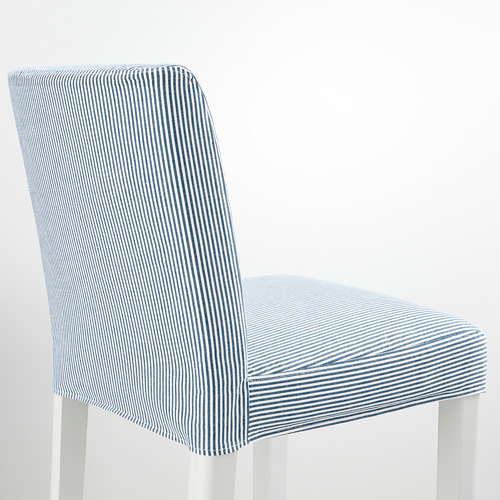 BERGMUND - bar stool with backrest, seat height 75cm, white/Rommele dark blue/white   IKEA Hong Kong and Macau - PE795277_S4