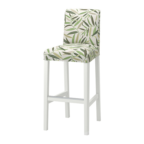 BERGMUND - bar stool with backrest, H110cm, white/Fågelfors multicolour | IKEA Hong Kong and Macau - PE795278_S4