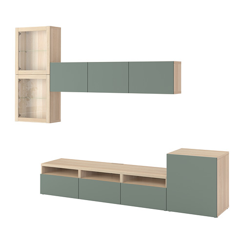 BESTÅ - TV storage combination/glass doors, white stained oak effect/Notviken grey-green clear glass | IKEA Hong Kong and Macau - PE742206_S4
