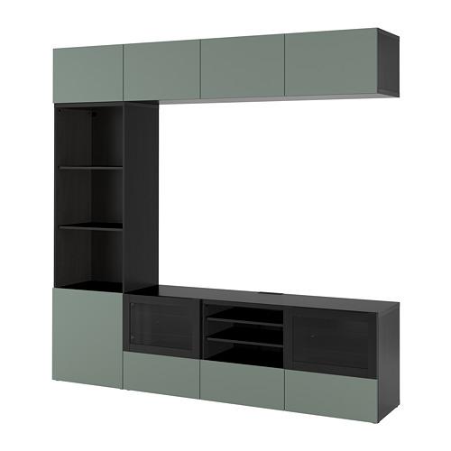 BESTÅ - TV storage combination/glass doors, black-brown/Notviken grey-green clear glass | IKEA Hong Kong and Macau - PE742213_S4