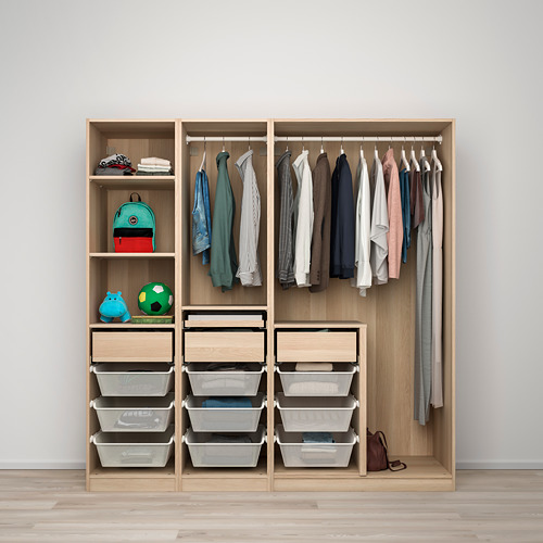 PAX/SVARTISDAL - wardrobe combination, white stained oak effect/white paper effect | IKEA Hong Kong and Macau - PE778793_S4