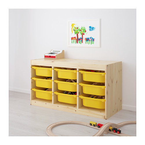 TROFAST - storage combination with boxes, light white stained pine/yellow | IKEA Hong Kong and Macau - PE653539_S4