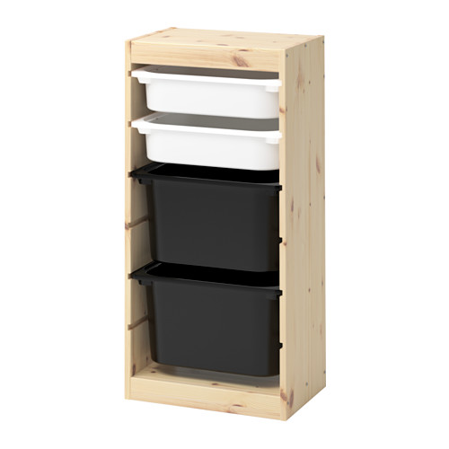 TROFAST - storage combination with boxes, light white stained pine white/black | IKEA Hong Kong and Macau - PE653546_S4