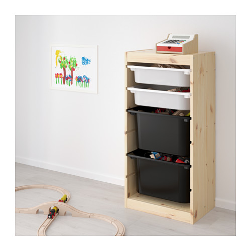 TROFAST - storage combination with boxes, light white stained pine white/black | IKEA Hong Kong and Macau - PE653548_S4