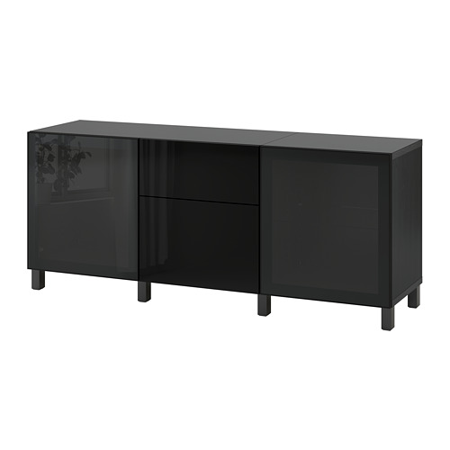 BESTÅ - 貯物組合連抽屜, black-brown/Selsviken/Stubbarp high-gloss/black smoked glass | IKEA 香港及澳門 - PE742333_S4