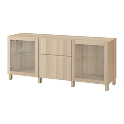 BESTÅ - storage combination with drawers, white stained oak effect Lappviken/Sindvik/Stubbarp white stained oak eff clear glass | IKEA Hong Kong and Macau - PE742336_S3