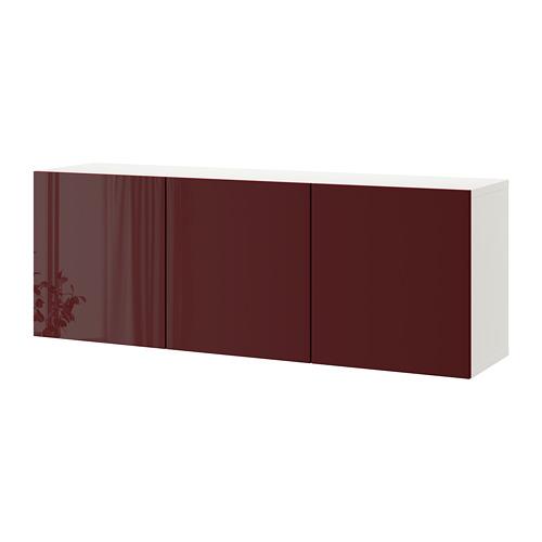 BESTÅ - wall-mounted cabinet combination, white Selsviken/high-gloss dark red-brown | IKEA Hong Kong and Macau - PE742350_S4