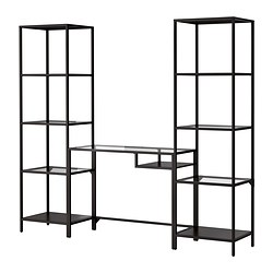 VITTSJÖ - 層架組合連電腦檯, 棕黑色/玻璃 | IKEA 香港及澳門 - PE301504_S3