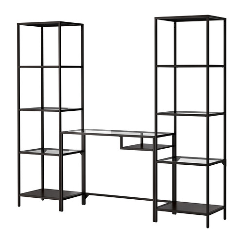 VITTSJÖ - shelving unit with laptop table, black-brown/glass | IKEA Hong Kong and Macau - PE301504_S4