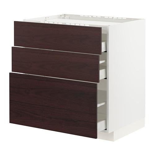 METOD/MAXIMERA - 爐具地櫃連3面板/3抽屜, white Askersund/dark brown ash effect   IKEA 香港及澳門 - PE795616_S4