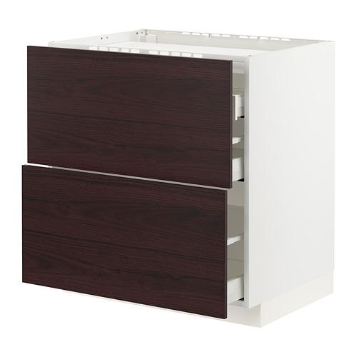 METOD/MAXIMERA - base cab f hob/2 fronts/3 drawers, white Askersund/dark brown ash effect | IKEA Hong Kong and Macau - PE795609_S4