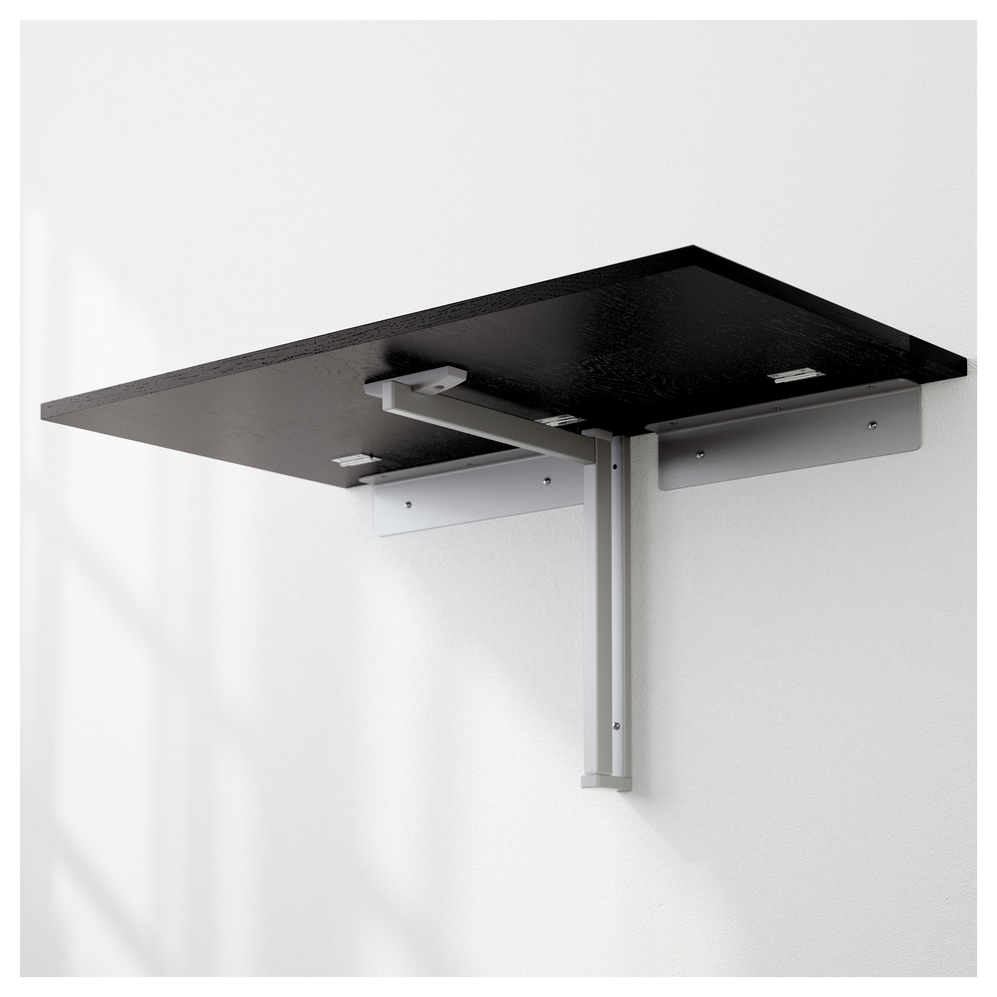 - BJURSTA - Wall-mounted Drop-leaf Table, Brown-black IKEA Hong Kong
