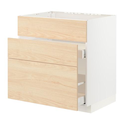 METOD/MAXIMERA - base cab f sink+3 fronts/2 drawers, white/Askersund light ash effect | IKEA Hong Kong and Macau - PE795699_S4