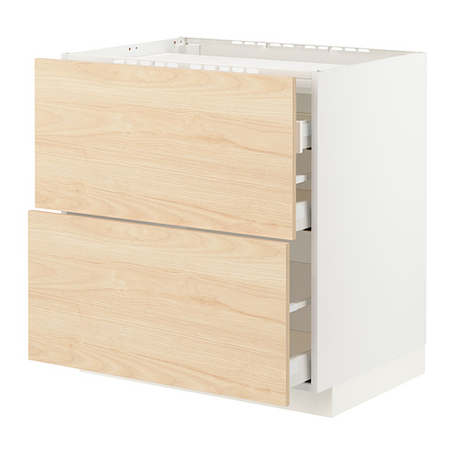 METOD/MAXIMERA - base cab f hob/2 fronts/3 drawers, white/Askersund light ash effect | IKEA Hong Kong and Macau - PE795692_S4