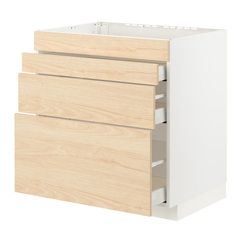 METOD/MAXIMERA - base cab f hob/4 fronts/3 drawers, white/Askersund light ash effect | IKEA Hong Kong and Macau - PE795703_S4