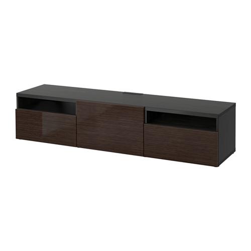 BESTÅ - TV bench, black-brown/Selsviken high-gloss/brown | IKEA Hong Kong and Macau - PE531729_S4
