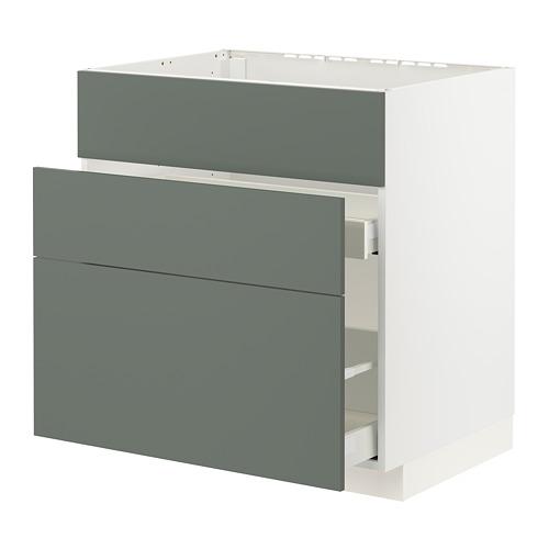 METOD/MAXIMERA - base cab f sink+3 fronts/2 drawers, white/Bodarp grey-green | IKEA Hong Kong and Macau - PE795779_S4