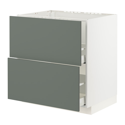 METOD/MAXIMERA - base cab f sink+2 fronts/2 drawers, white/Bodarp grey-green | IKEA Hong Kong and Macau - PE795780_S4