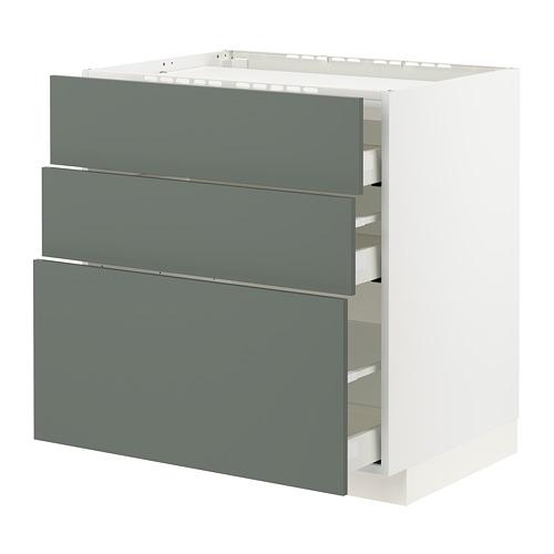 METOD/MAXIMERA - base cab f hob/3 fronts/3 drawers, white/Bodarp grey-green | IKEA Hong Kong and Macau - PE795762_S4