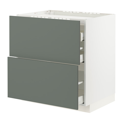 METOD/MAXIMERA - 爐具地櫃連2面板/3抽屜, white/Bodarp grey-green   IKEA 香港及澳門 - PE795775_S4