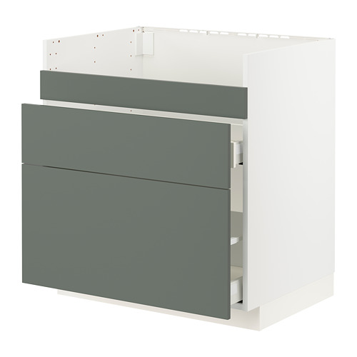 METOD/MAXIMERA - base cb f HAVSEN snk/3 frnts/2 drws, white/Bodarp grey-green | IKEA Hong Kong and Macau - PE795781_S4