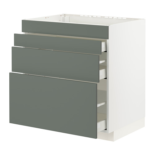 METOD/MAXIMERA - base cab f hob/4 fronts/3 drawers, white/Bodarp grey-green | IKEA Hong Kong and Macau - PE795776_S4
