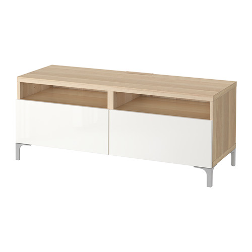BESTÅ - TV bench with drawers, white stained oak effect/Selsviken high-gloss/white | IKEA Hong Kong and Macau - PE700818_S4