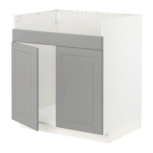 METOD - base cab f HAVSEN double bowl sink, white/Bodbyn grey | IKEA Hong Kong and Macau - PE795832_S4