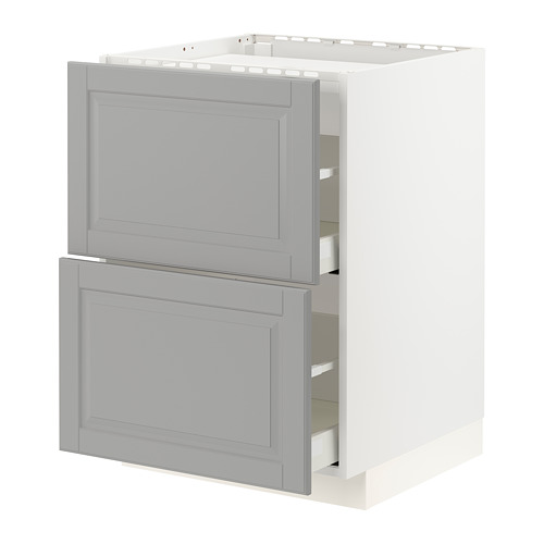 METOD/MAXIMERA - 爐具地櫃連2面板/2抽屜, white/Bodbyn grey   IKEA 香港及澳門 - PE795855_S4