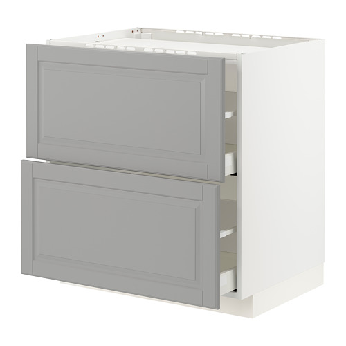 METOD/MAXIMERA - base cab f hob/2 fronts/2 drawers, white/Bodbyn grey | IKEA Hong Kong and Macau - PE795856_S4